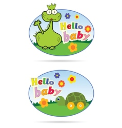 stickers for babies with dino and turtle vector image vector image