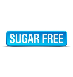 Sugar free blue 3d realistic square isolated vector