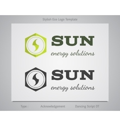 Sun - energy solutions logo template for eco vector