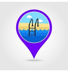 Swimming pool pin map icon Summer Vacation vector image vector image