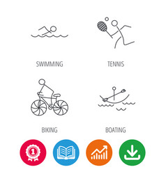 Swimming tennis and biking icons vector