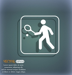 Tennis player icon On the blue-green abstract vector image