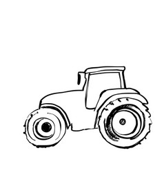 Tractor sketch agricultural machine hand drawn vector
