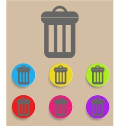 Trash can icon with color variations vector image