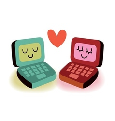 Two laptop computers in love vector image vector image