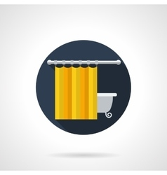 Yellow bathroom curtains round flat icon vector image vector image