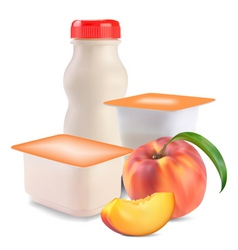 yogurt and peach vector image
