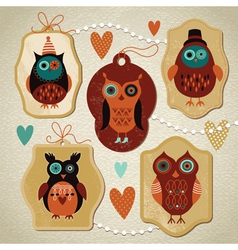 Set of vintage cute owls vector