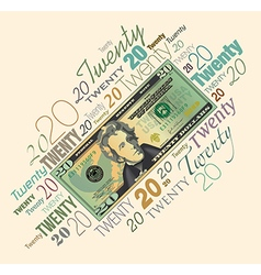 20 Typography Money vector image