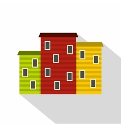 Multicolored argentine houses icon flat style vector