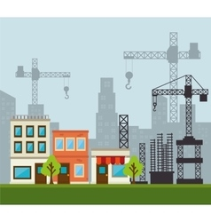 Site under construction scene with cranes vector