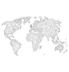 abstract world map of polygonal lines and dots vector image