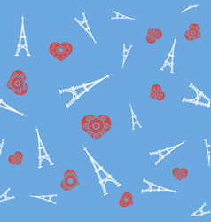 white tower and red heart seamless pattern vector image