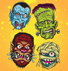 Halloween monster head set vector