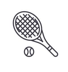 tennis racket flat line  concept vector image