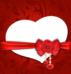 Card heart shaped with silk bow and red rose for vector