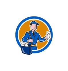 Mailman postman delivery worker circle cartoon vector