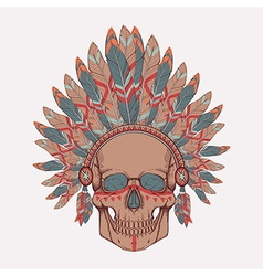 Human skull in native american indian chi vector