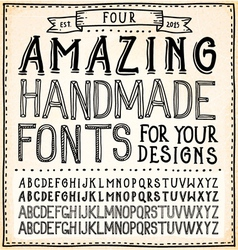 Handwriting alphabets hand drawn fonts vector
