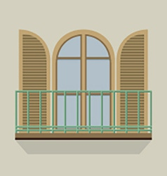 Open door with balcony vintage style vector