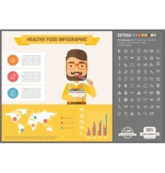 Healthy food flat design infographic template vector