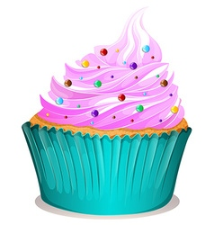 Cupcake with spinkles decoration vector