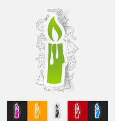 Christmas candle paper sticker with hand drawn vector