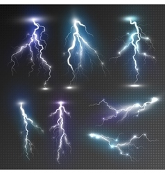 Realistic lightnings set vector