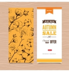 Autumn banner with stems of cotton plants vector