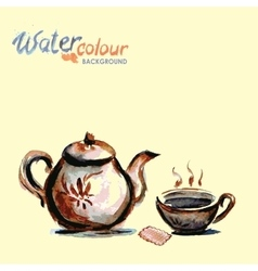 Teapot and tea cup on white background  watercolo vector