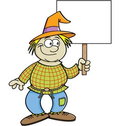 Cartoon scarecrow holding a sign vector