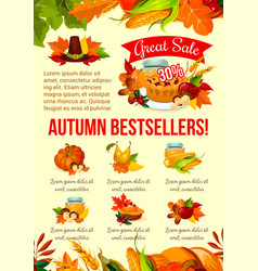 Autumn sale banner of thanksgiving discount offer vector