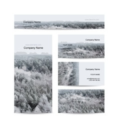 Business cards design foggy winter forest vector