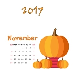 Calendar november 2017 Template Week vector image