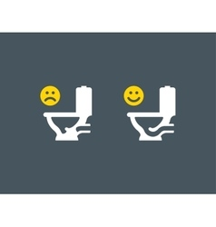 Clogged and unclogged toilet symbol vector image