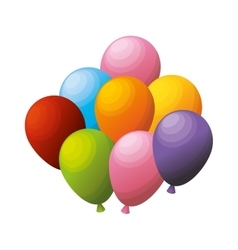 colored bunch balloons party vector image