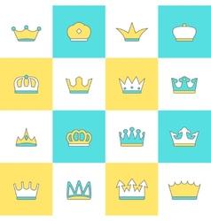 Crown icon set vector