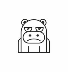 Cute hippopotamus icon on white background vector