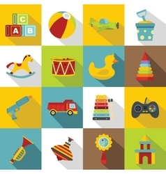 Different kids toys icons set flat style vector