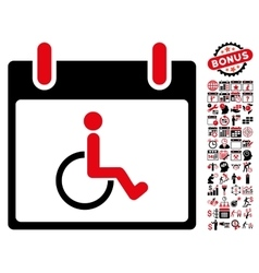 Disabled person calendar day flat icon with vector