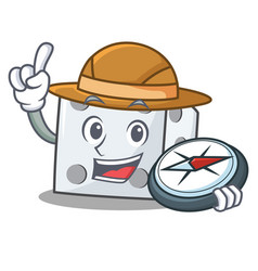 Explorer dice character cartoon style vector