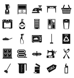Fireside icons set simple style vector