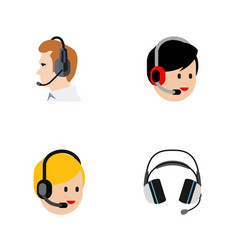 Flat icon call set of call center operator vector