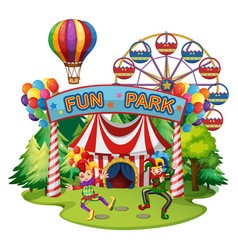 Funpark scene with clowns and rides vector