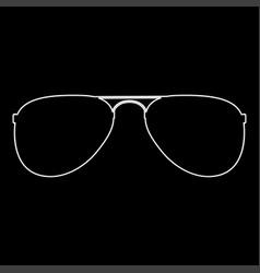 Glasses white color path icon vector