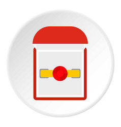 Gold ring with ruby in a red velvet box icon vector