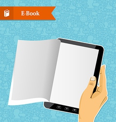 Hand holding an electronic book vector image vector image