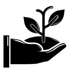 hand sprout icon simple black style vector image