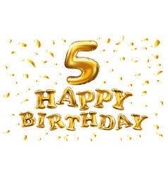 happy birthday golden 5 number five metallic vector image