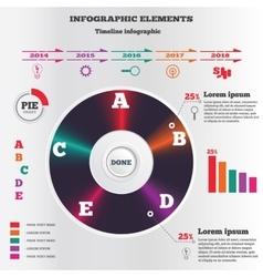 Infographics elements vintage record symbol pie vector